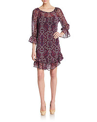 Ella moss paisley print silk chiffon shift dress medium 257149