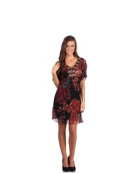 Leisureland Paisley Floral Bead Embroidered Chiffon Dress