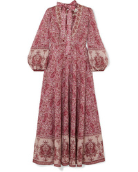 Zimmermann Amari Paisley Print Cotton Voile Maxi Dress