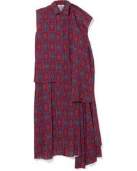 Balenciaga Twinset Convertible Asymmetric Printed Dress