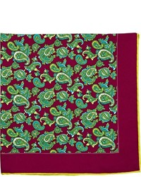 Kiton Paisley Pocket Square Red