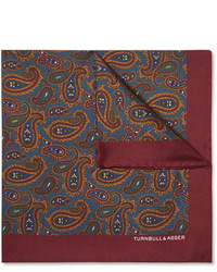 Turnbull & Asser Paisley Print Silk Twill Pocket Square