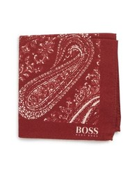 BOSS Paisley Cotton Wool Pocket Square