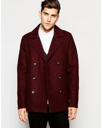 Asos Brand Wool Peacoat In Burgundy
