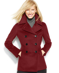 Calvin Klein Wool Cashmere Blend Peacoat With Free Infinity Scarf