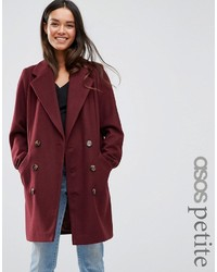 Asos Petite Petite Pea Coat With Seamed Pockets
