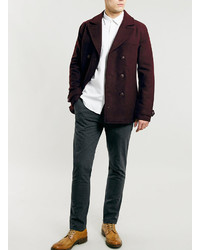 ... Topman Burgundy Wool Blend Peacoat ...