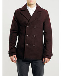Topman Burgundy Wool Blend Peacoat