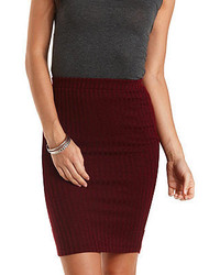 Charlotte Russe Ribbed Bodycon Pencil Skirt