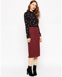 Asos Collection Pencil Skirt In Wool Mix Twill