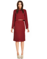 Glamorous Fitted Pencil Skirt In Burgundy S