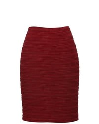 M&Co Stretchy Red Pencil Skirt Wine Red 16