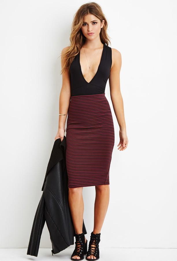 5344e945d776 Forever 21 Striped Pencil Skirt, $15 | Forever 21 | Lookastic.com