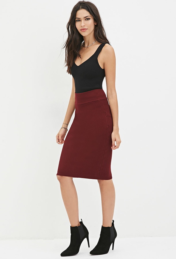 10df87de3 Forever 21 Sweater Knit Pencil Skirt, $19 | Forever 21 | Lookastic.com