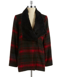 BB Dakota Faux Shearling Plaid Coat