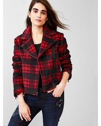 Festive plaid wool moto jacket medium 169199