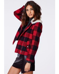 Missguided Millicent Lumberjack Shearling Collar Biker Jacket Red Check