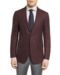 Ermenegildo Zegna Cool Effect Plaid Two Button Sport Coat Burgundynavy