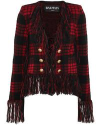 Balmain Fringed Tartan Jacquard Knit Blazer Red