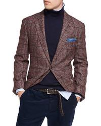 Brunello Cucinelli Plaid Alpaca Wool Sport Jacket Red