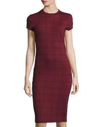 Burgundy Plaid Bodycon Dress