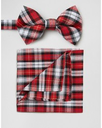 Asos Brand Plaid Bow Tie And Pocket Square Pack