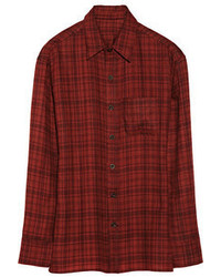 Plaid cashmere shirt medium 55409