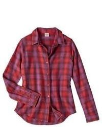 Shahi Apparel Pvt. Ltd. Mossimo Supply Co Juniors Long Sleeve Button Down Shirt Washed Red S