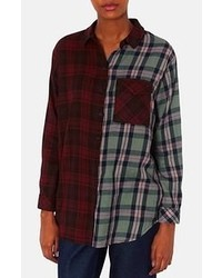 Topshop Marvin Oversized Mixed Plaid Shirt Red Multi 8