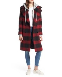 Kendall & Kylie Double Breasted Plaid Wool Blend Coat