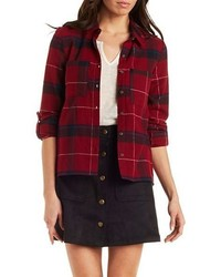 Charlotte Russe Button Up Plaid Top With Pockets