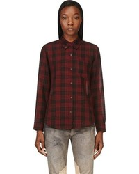 Isabel marant etoile black burgundy plaid ipa shirt medium 102713