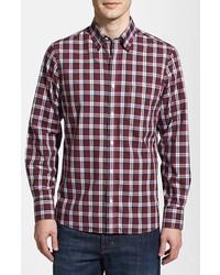 Nordstrom Smartcare Trim Fit Plaid Sport Shirt Red Plaid Medium