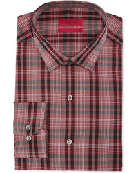 Red fitted oversized red mod plaid performance dress shirt medium 169737