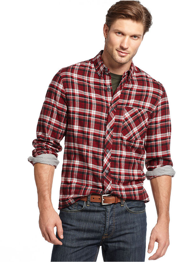 Finest Club Room Shirt Slim Fit Long Sleeve Brushed Cotton Plaid Shirt  SJ55