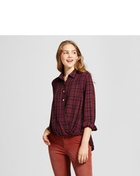 Mossimo Supply Co Plaid Surplice Woven Top Supply Co