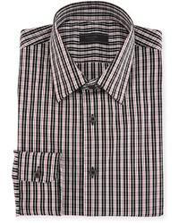 Tartan print cotton blend dress shirt red medium 4415483