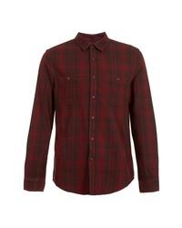 Topman Tartan Plaid Flannel Shirt Red Small