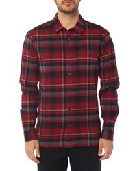 Burgundy Plaid Flannel Long Sleeve Shirt
