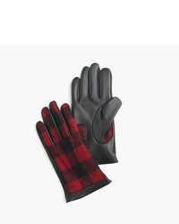 J.Crew Leather Gloves In Buffalo Plaid