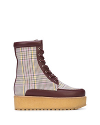 Gabriela Hearst Plaid And Leather Paneled Lace Up Boots