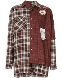 Maison Mihara Yasuhiro Asymmetric Check Print Shirt
