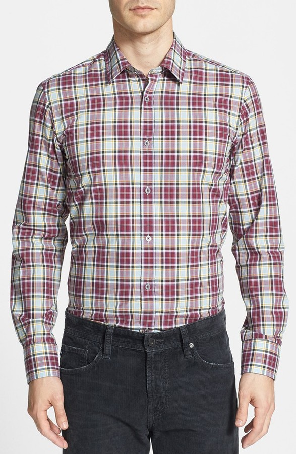 ... Long Sleeve Shirts Hugo Boss Boss Ronny Slim Fit Plaid Sport Shirt ...
