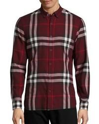 Burberry Ecclestone Plaid Button Down Shirt