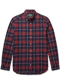 Gitman vintage button down collar checked cotton flannel shirt medium 4356180