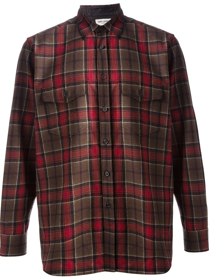 Saint Laurent Plaid Flannel Shirt