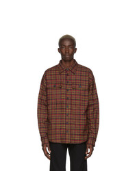 DSQUARED2 Red Sherpa Dropped Military Fit Shirt