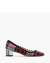 J.Crew Scalloped Heels In Festive Plaid