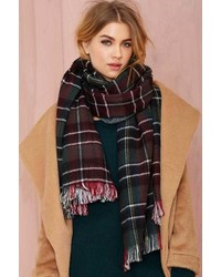 Nasty Gal Aint Half Plaid Oversized Scarf