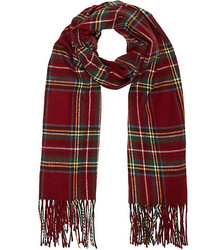 River Island Dark Red Plaid Blanket Scarf